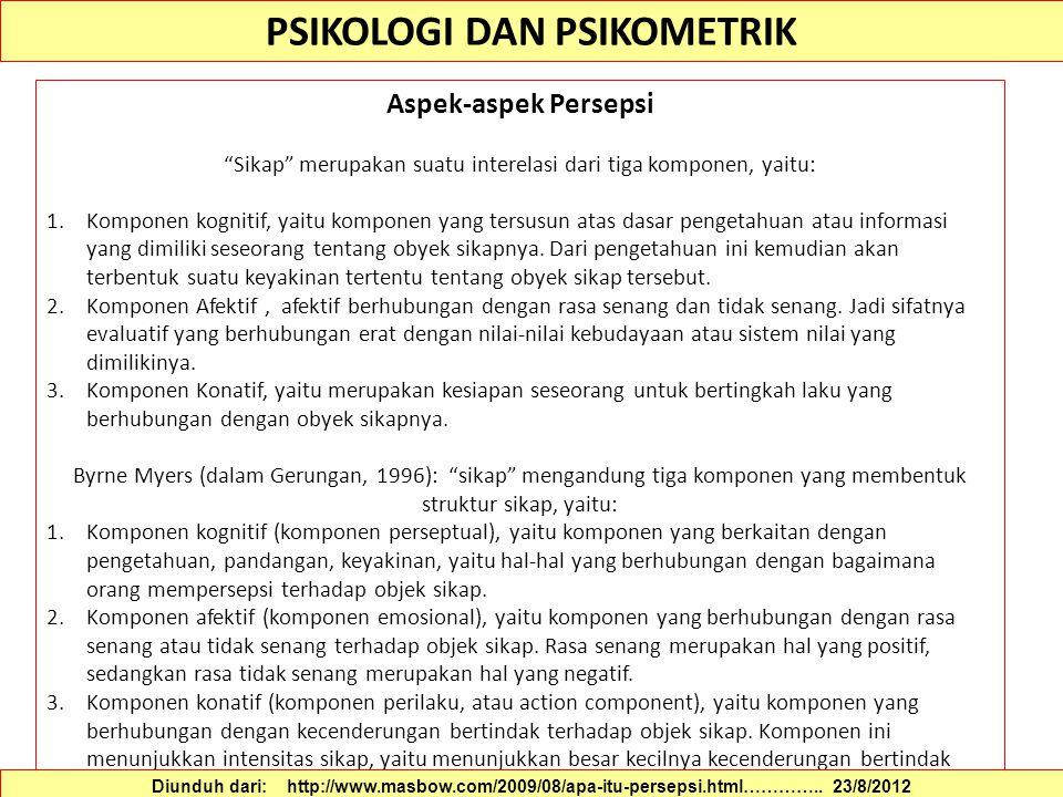 PSIKOLOGI DAN PSIKOMETRIK Faktor-faktor yang Mempengaruhi Persepsi Thoha (1993) : persepsi pada umumnya terjadi karena dua faktor, yaitu faktor internal dan faktor eksternal.