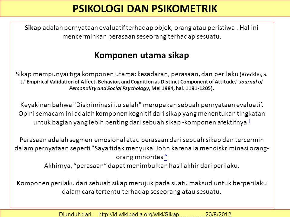 PSIKOLOGI DAN PSIKOMETRIK Sikap adalah pernyataan evaluatif terhadap objek, orang atau peristiwa.