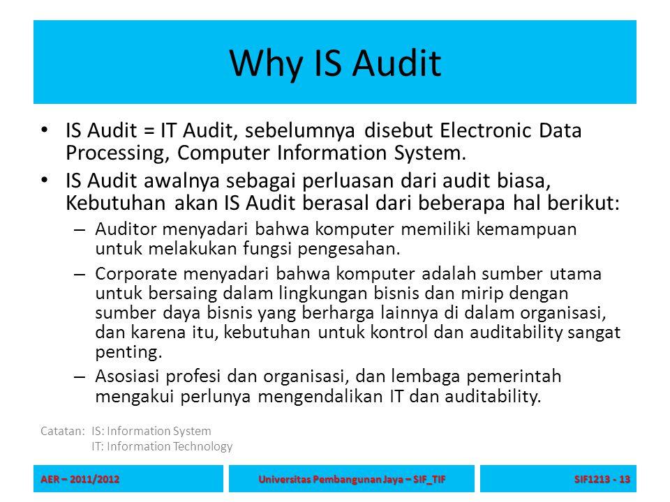 Why IS Audit IS Audit = IT Audit, sebelumnya disebut Electronic Data Processing, Computer Information System. IS Audit awalnya sebagai perluasan dari