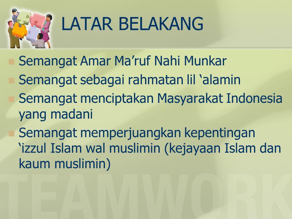 LATAR BELAKANG Semangat Amar Ma'ruf Nahi Munkar Semangat sebagai rahmatan lil 'alamin Semangat menciptakan Masyarakat Indonesia yang madani Semangat memperjuangkan kepentingan 'izzul Islam wal muslimin (kejayaan Islam dan kaum muslimin)
