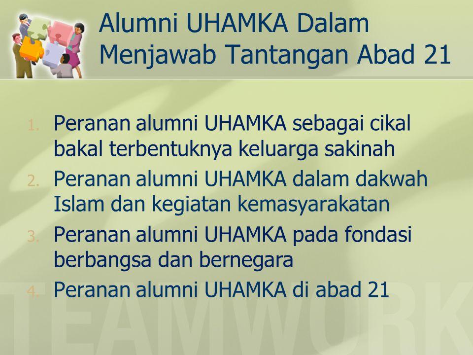 Alumni UHAMKA Dalam Menjawab Tantangan Abad 21 1. Peranan alumni UHAMKA sebagai cikal bakal terbentuknya keluarga sakinah 2. Peranan alumni UHAMKA dal