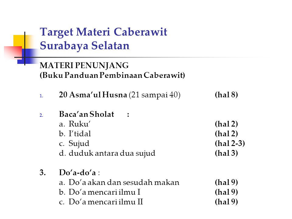 Target Materi Caberawit Surabaya Selatan MATERI PENUNJANG (Buku Panduan Pembinaan Caberawit) 1. 20 Asma'ul Husna (21 sampai 40)(hal 8) 2. Baca'an Shol