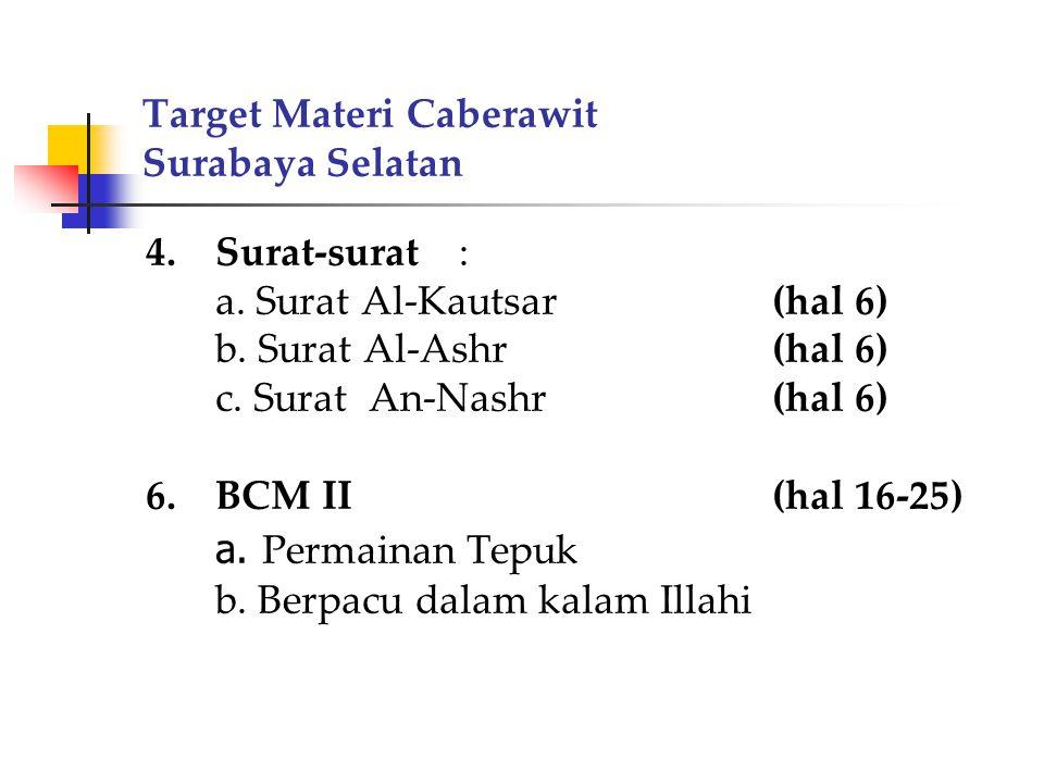 Target Materi Caberawit Surabaya Selatan 4.Surat-surat: a. Surat Al-Kautsar(hal 6) b. Surat Al-Ashr(hal 6) c. Surat An-Nashr(hal 6) 6.BCM II(hal 16-25