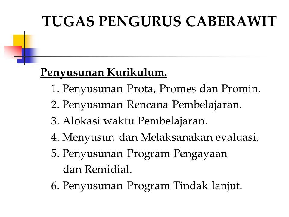 Penyusunan Kurikulum. 1. Penyusunan Prota, Promes dan Promin. 2. Penyusunan Rencana Pembelajaran. 3. Alokasi waktu Pembelajaran. 4. Menyusun dan Melak