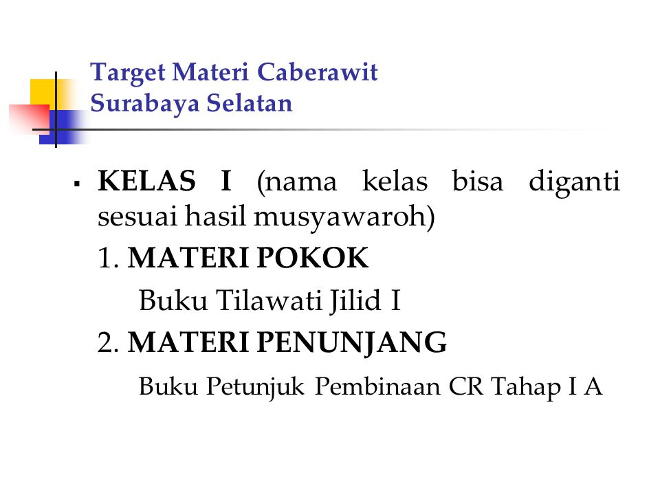 Target Materi Caberawit Surabaya Selatan MATERI POKOK Pokok bahasan buku Tilawati Jilid I 1.