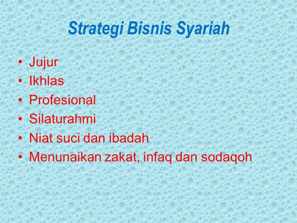 Strategi Bisnis Syariah Jujur Ikhlas Profesional Silaturahmi Niat suci dan ibadah Menunaikan zakat, infaq dan sodaqoh