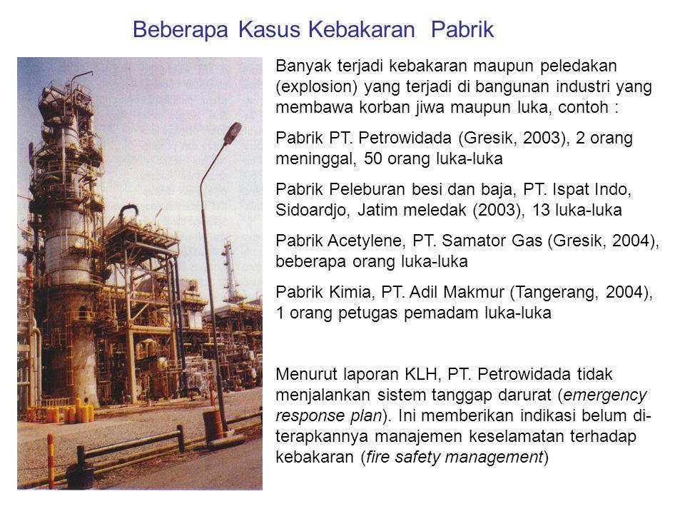 Banyak terjadi kebakaran maupun peledakan (explosion) yang terjadi di bangunan industri yang membawa korban jiwa maupun luka, contoh : Pabrik PT. Petr