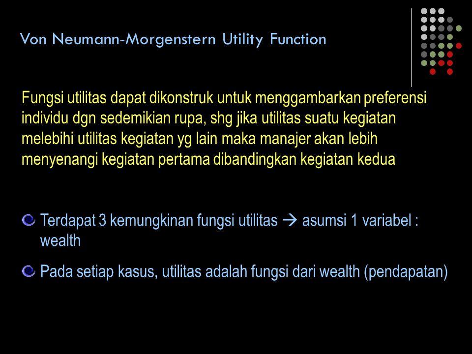 Von Neumann-Morgenstern Utility Function Fungsi utilitas dapat dikonstruk untuk menggambarkan preferensi individu dgn sedemikian rupa, shg jika utilit
