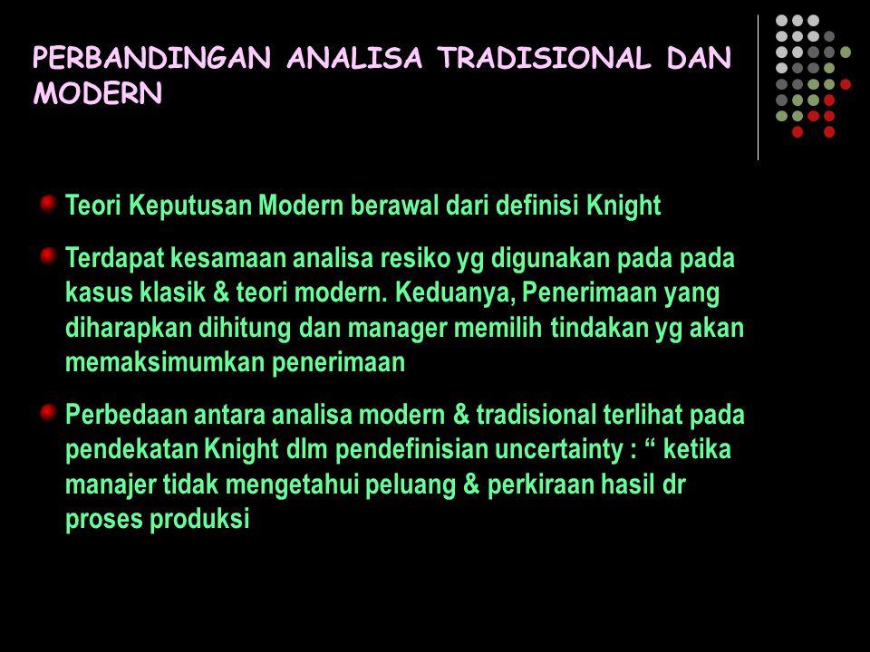 PERBANDINGAN ANALISA TRADISIONAL DAN MODERN Teori Keputusan Modern berawal dari definisi Knight Terdapat kesamaan analisa resiko yg digunakan pada pad