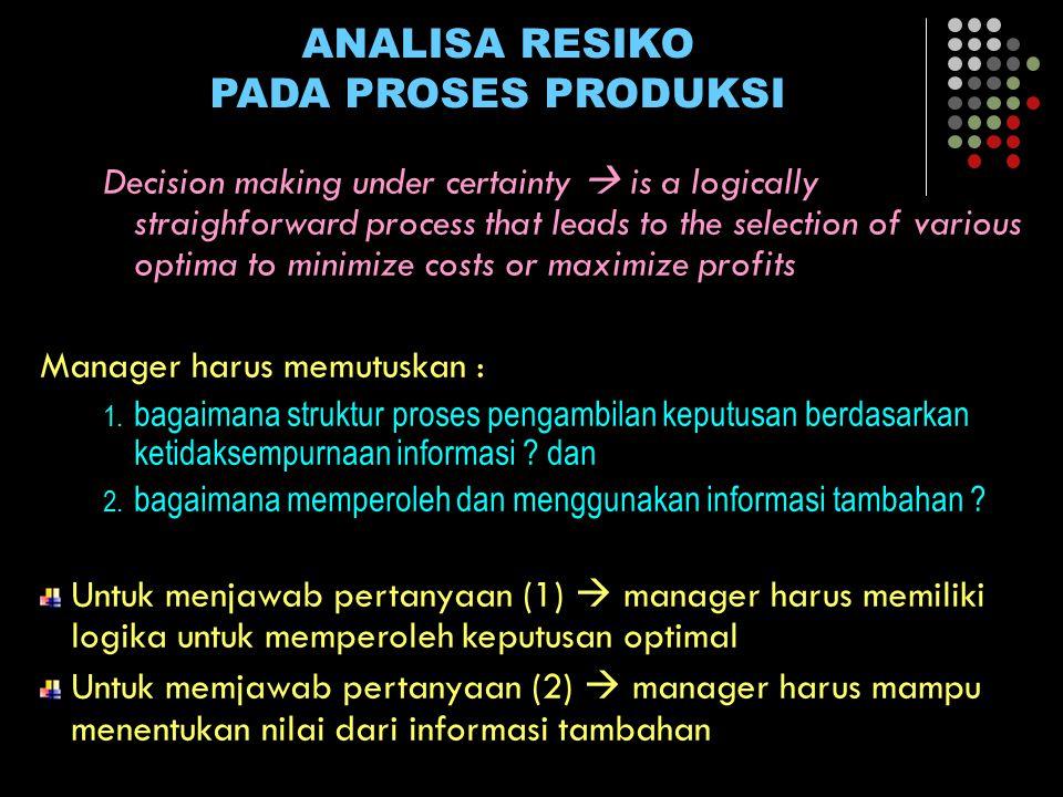 ANALISA RESIKO PADA PROSES PRODUKSI Problem keputusan, dapat dibagi menjadi : 1.Tindakan manager 2.Keadaan alam 3.Kesempatan manager terhadap kondisi alam 4.Hasil konsekwensi 5.Tujuan manager  maks profit?.