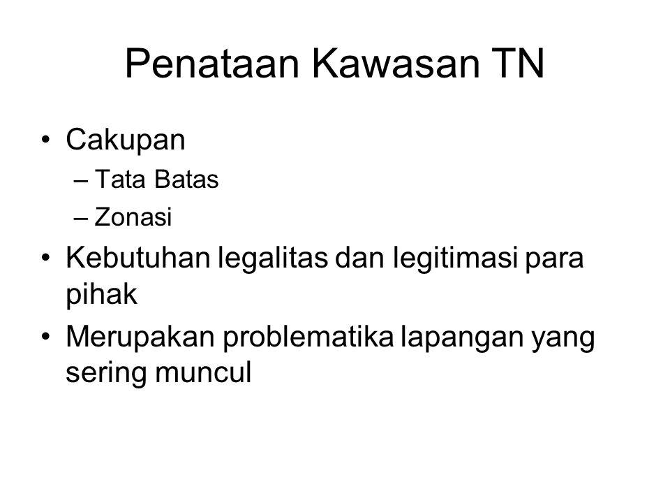 Penataan Kawasan TN Cakupan –Tata Batas –Zonasi Kebutuhan legalitas dan legitimasi para pihak Merupakan problematika lapangan yang sering muncul