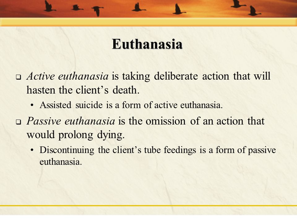 "Euthanasia  ""Good or gentle death""  Mercy killing (deliberate ending of life as a humane action)"