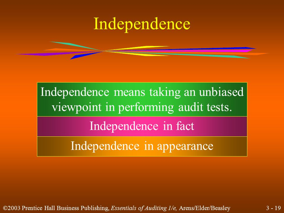 3 - 18 ©2003 Prentice Hall Business Publishing, Essentials of Auditing 1/e, Arens/Elder/Beasley Learning Objective 5 Describe factors that influence auditor independence.