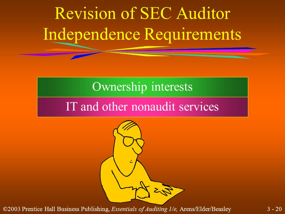 3 - 19 ©2003 Prentice Hall Business Publishing, Essentials of Auditing 1/e, Arens/Elder/Beasley Independence Independence means taking an unbiased viewpoint in performing audit tests.