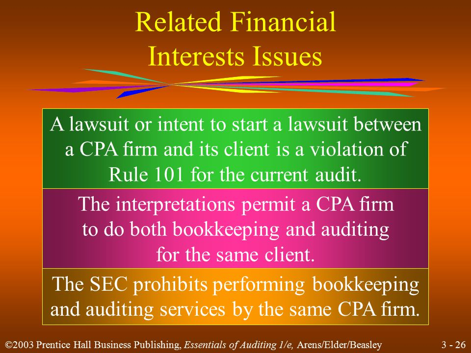 3 - 25 ©2003 Prentice Hall Business Publishing, Essentials of Auditing 1/e, Arens/Elder/Beasley Related Financial Interests Issues Former practitioners Normal lending procedures Financial interest and employment of immediate and close family Joint investor or investee relationship with client Director, officer, management, or employee of a company