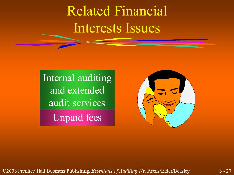 3 - 26 ©2003 Prentice Hall Business Publishing, Essentials of Auditing 1/e, Arens/Elder/Beasley Related Financial Interests Issues A lawsuit or intent