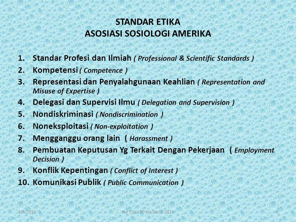 STANDAR ETIKA ASOSIASI SOSIOLOGI AMERIKA 1.Standar Profesi dan Ilmiah ( Professional & Scientific Standards ) 2.Kompetensi ( Competence ) 3.Representa