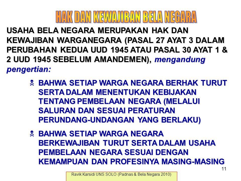 USAHA BELA NEGARA MERUPAKAN HAK DAN KEWAJIBAN WARGANEGARA (PASAL 27 AYAT 3 DALAM PERUBAHAN KEDUA UUD 1945 ATAU PASAL 30 AYAT 1 & 2 UUD 1945 SEBELUM AM