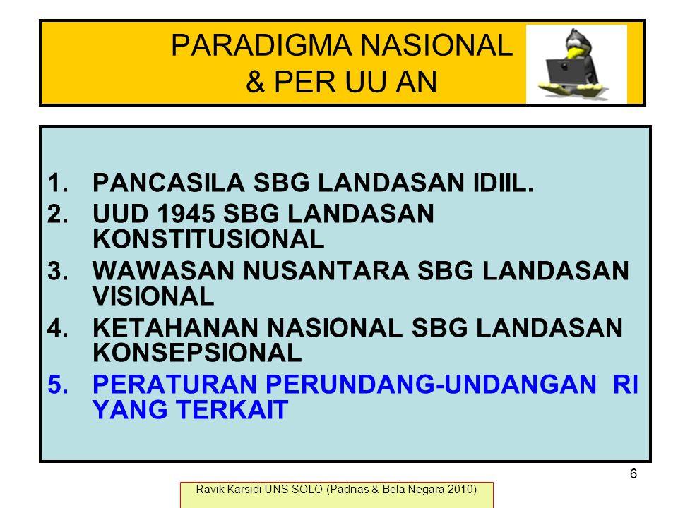 PARADIGMA NASIONAL & PER UU AN 1.PANCASILA SBG LANDASAN IDIIL. 2.UUD 1945 SBG LANDASAN KONSTITUSIONAL 3.WAWASAN NUSANTARA SBG LANDASAN VISIONAL 4.KETA