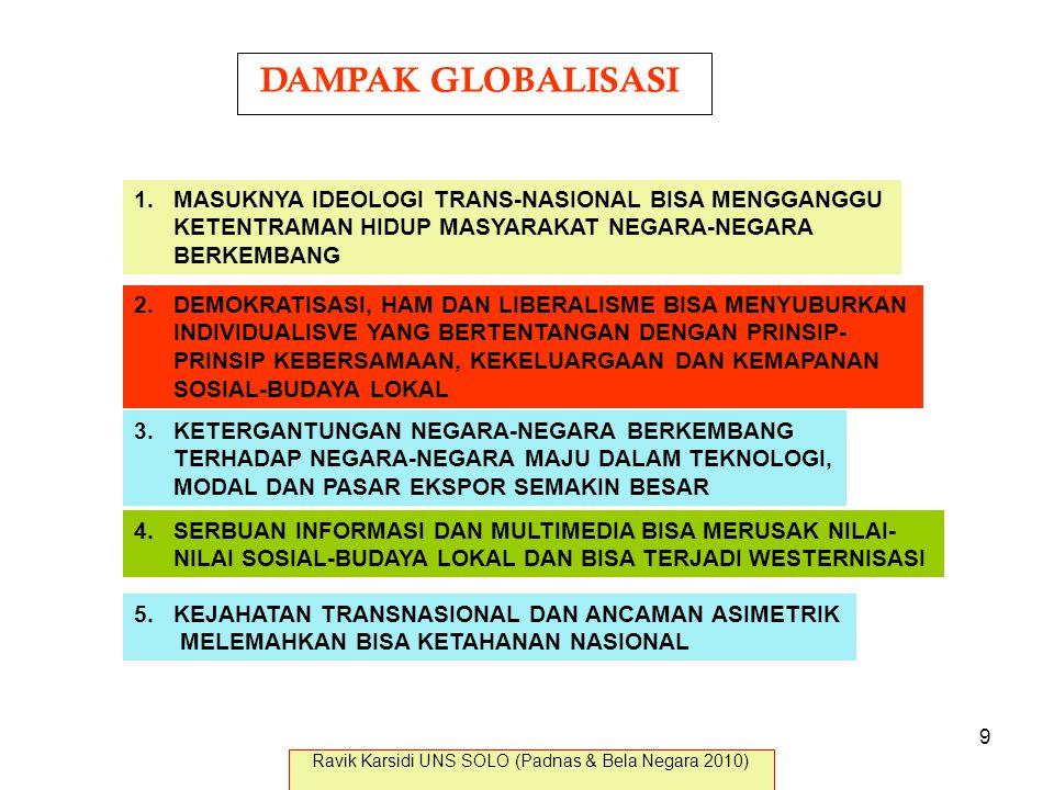DAMPAK GLOBALISASI 1.MASUKNYA IDEOLOGI TRANS-NASIONAL BISA MENGGANGGU KETENTRAMAN HIDUP MASYARAKAT NEGARA-NEGARA BERKEMBANG 2.DEMOKRATISASI, HAM DAN L