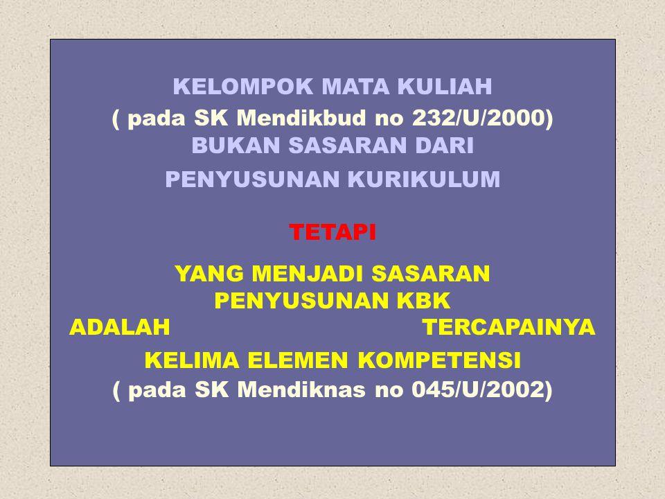 KELOMPOK MATA KULIAH ( pada SK Mendikbud no 232/U/2000) BUKAN SASARAN DARI PENYUSUNAN KURIKULUM TETAPI YANG MENJADI SASARAN PENYUSUNAN KBK ADALAH TERC
