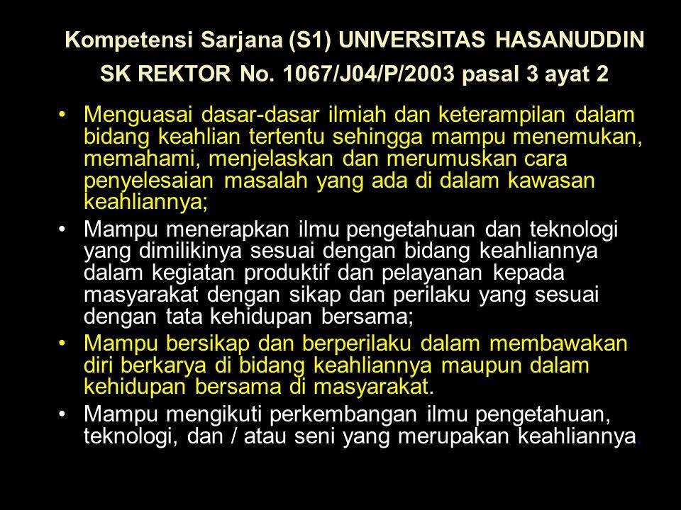 Kompetensi Sarjana (S1) UNIVERSITAS HASANUDDIN SK REKTOR No. 1067/J04/P/2003 pasal 3 ayat 2 Menguasai dasar-dasar ilmiah dan keterampilan dalam bidang