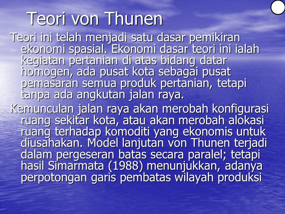 Teori von Thunen Teori ini telah menjadi satu dasar pemikiran ekonomi spasial.