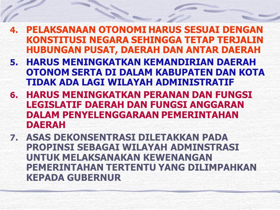 VIII. PRINSIP – PRINSIP PELAKSANAAN OTONOMI DAERAH 1. MEMPERHATIKAN ASPEK DEMOKRASI, KEADILAN, PEMERATAAN, POTENSI, DAN KERAGAMAN DAERAH 2. DIDASARKAN