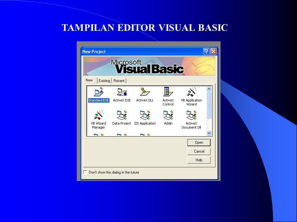 TAMPILAN EDITOR VISUAL BASIC