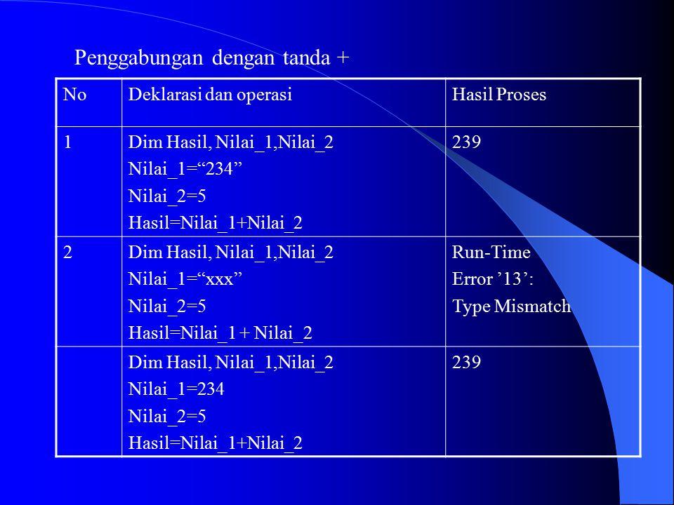 """Penggabungan dengan tanda + NoDeklarasi dan operasiHasil Proses 1Dim Hasil, Nilai_1,Nilai_2 Nilai_1=""""234"""" Nilai_2=5 Hasil=Nilai_1+Nilai_2 239 2Dim Has"""