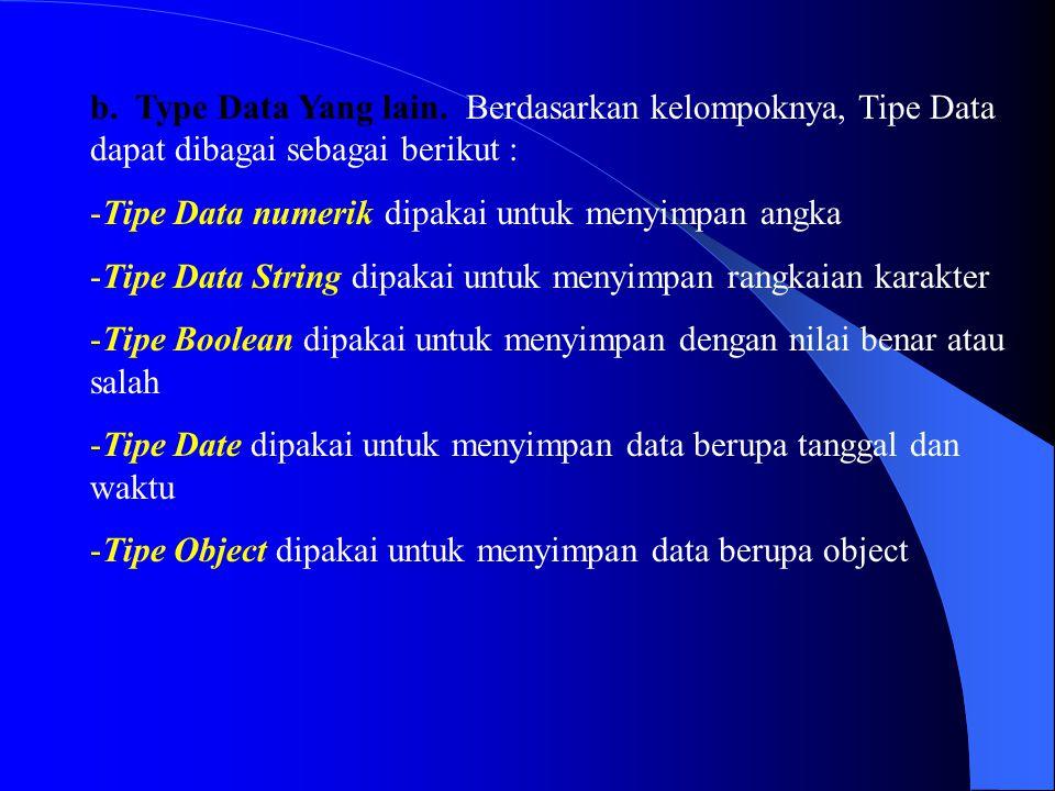 b. Type Data Yang lain. Berdasarkan kelompoknya, Tipe Data dapat dibagai sebagai berikut : -Tipe Data numerik dipakai untuk menyimpan angka -Tipe Data