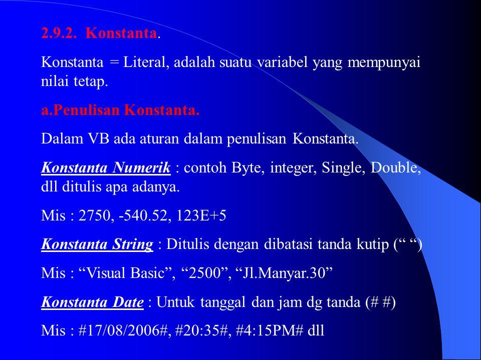2.9.2. Konstanta. Konstanta = Literal, adalah suatu variabel yang mempunyai nilai tetap. a.Penulisan Konstanta. Dalam VB ada aturan dalam penulisan Ko