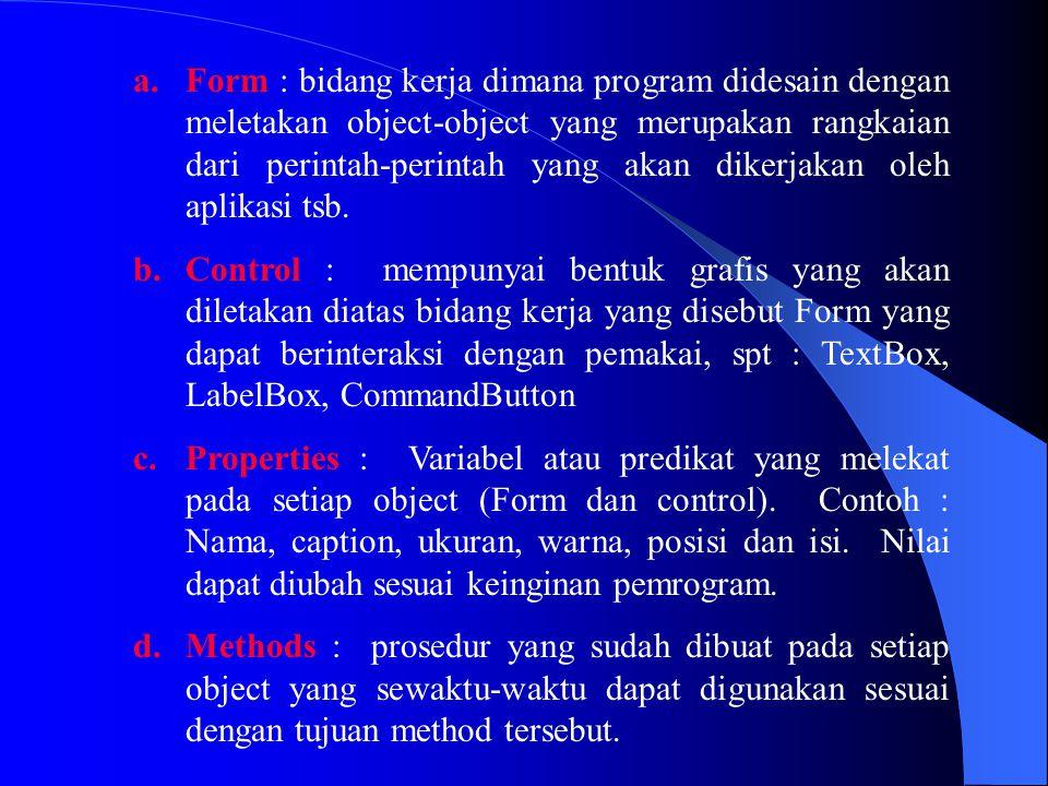 a.Tingkatan Prosedur : Dalam sebuah prosedur, variabel dideklarasikan dg menggunakan pernyataan Dim : Contoh : Dim VarInt As Integer Dim VarDouble As Double Dim VarString, VarString1 As String Ini Hanya berlaku pada prosedur saja, bila prosedur telah selesai maka isi dari variabel tsb akan kosong.