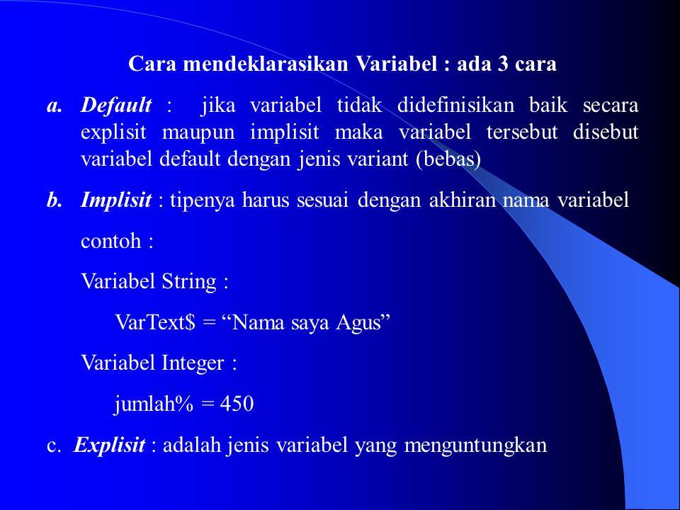 Cara mendeklarasikan Variabel : ada 3 cara a.Default : jika variabel tidak didefinisikan baik secara explisit maupun implisit maka variabel tersebut d