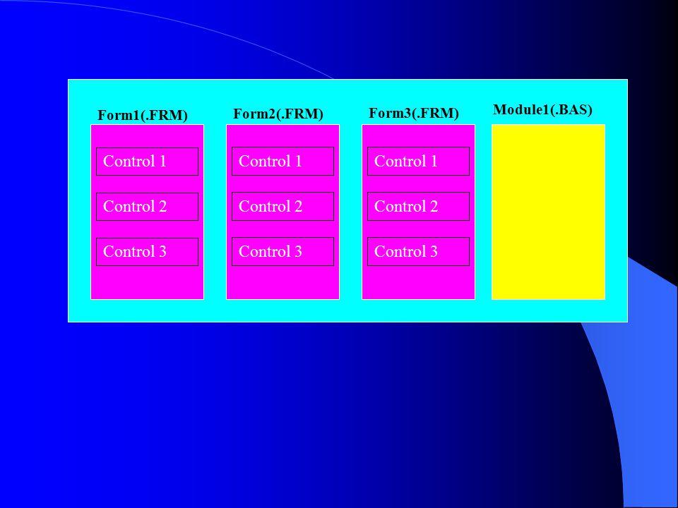 Form1(.FRM) Form2(.FRM) Form3(.FRM) Module1(.BAS) Control 1 Control 2 Control 3 Control 1 Control 2 Control 3