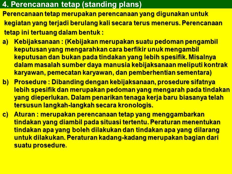 3.Perencanaan Sekali pakai. Perencanaan sekali pakai (single-use plan) merupakan rencana yang digunakan sekali saja yang secara husus dirancang untuk
