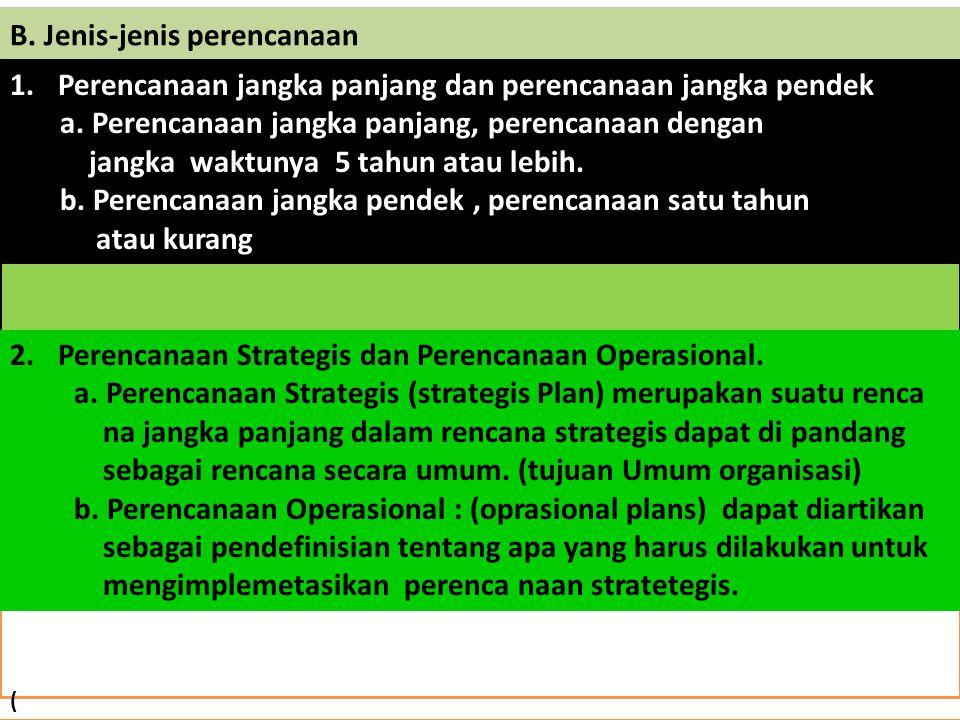 Hubungan Perncanaan dengan Fungsi Lainnya : Gambar ; Perencanaan : 1.Menentukan tujuan perusahaan 2.Menentukan saat ini 3.Memperkirakan ko Disi mendatang 4.Mengidentifikasi cara untuk menca- Pai tujuan 5.Mengimplementasi- Kan rencana tinda Kan dan evaluasi Pengorganisasian pengarahanpengendalian Perencanaan merupakan awal dari proses manajemen.