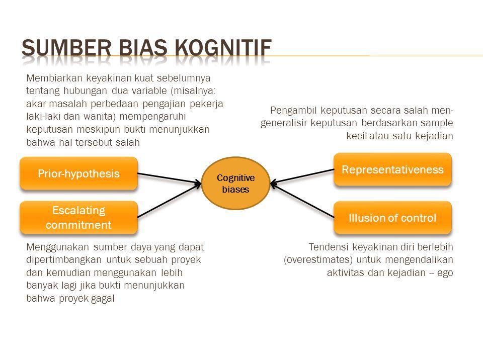 Prior-hypothesis Representativeness Illusion of control Escalating commitment Cognitive biases Membiarkan keyakinan kuat sebelumnya tentang hubungan d