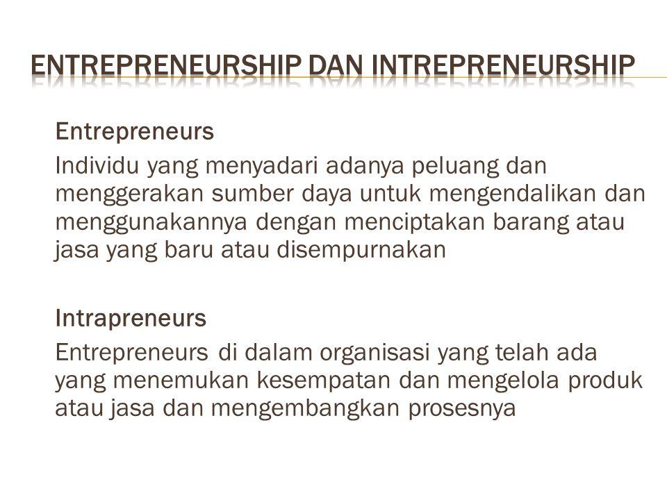 Entrepreneurs Individu yang menyadari adanya peluang dan menggerakan sumber daya untuk mengendalikan dan menggunakannya dengan menciptakan barang atau