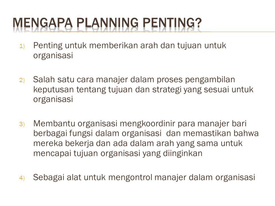 1) Penting untuk memberikan arah dan tujuan untuk organisasi 2) Salah satu cara manajer dalam proses pengambilan keputusan tentang tujuan dan strategi