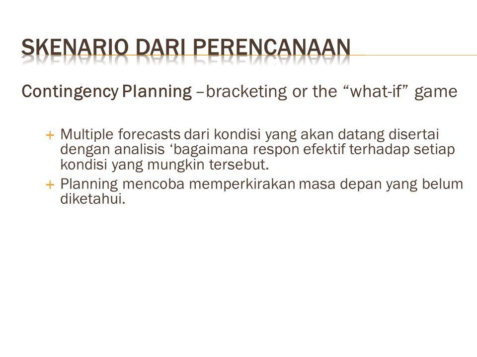 """Contingency Planning –bracketing or the """"what-if"""" game  Multiple forecasts dari kondisi yang akan datang disertai dengan analisis 'bagaimana respon e"""