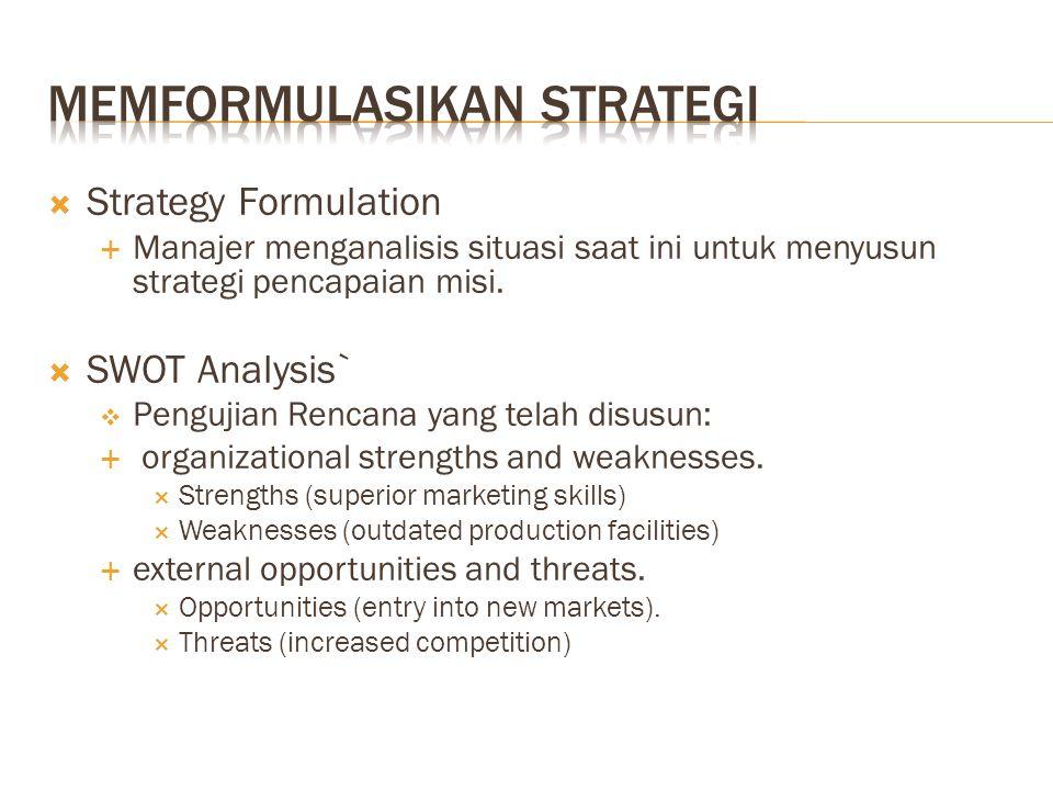  Strategy Formulation  Manajer menganalisis situasi saat ini untuk menyusun strategi pencapaian misi.  SWOT Analysis`  Pengujian Rencana yang tela