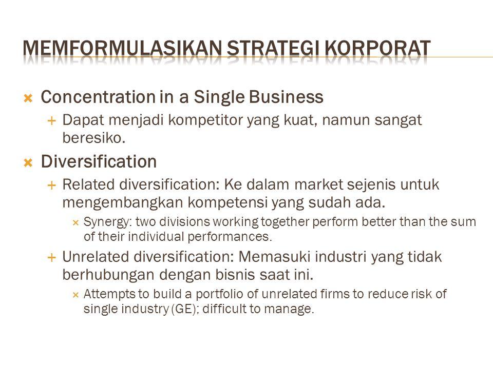  Concentration in a Single Business  Dapat menjadi kompetitor yang kuat, namun sangat beresiko.  Diversification  Related diversification: Ke dala