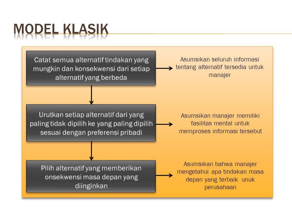 Asumsikan seluruh informasi tentang alternatif tersedia untuk manajer Asumsikan manajer memiliki fasilitas mental untuk memproses informasi tersebut A