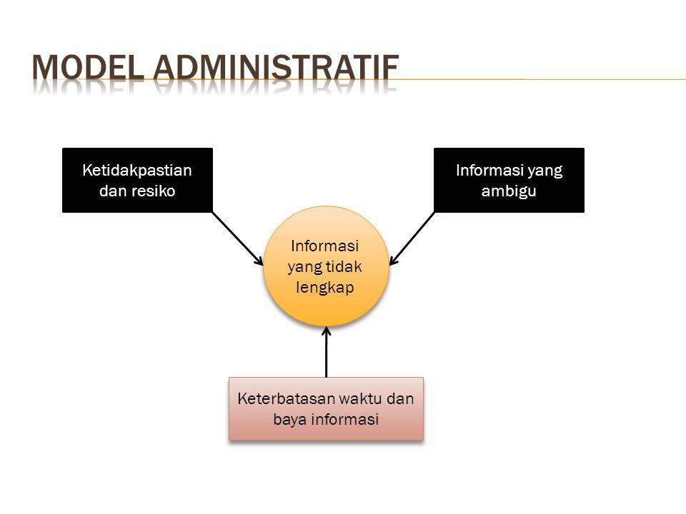 Informasi yang tidak lengkap Ketidakpastian dan resiko Informasi yang ambigu Keterbatasan waktu dan baya informasi