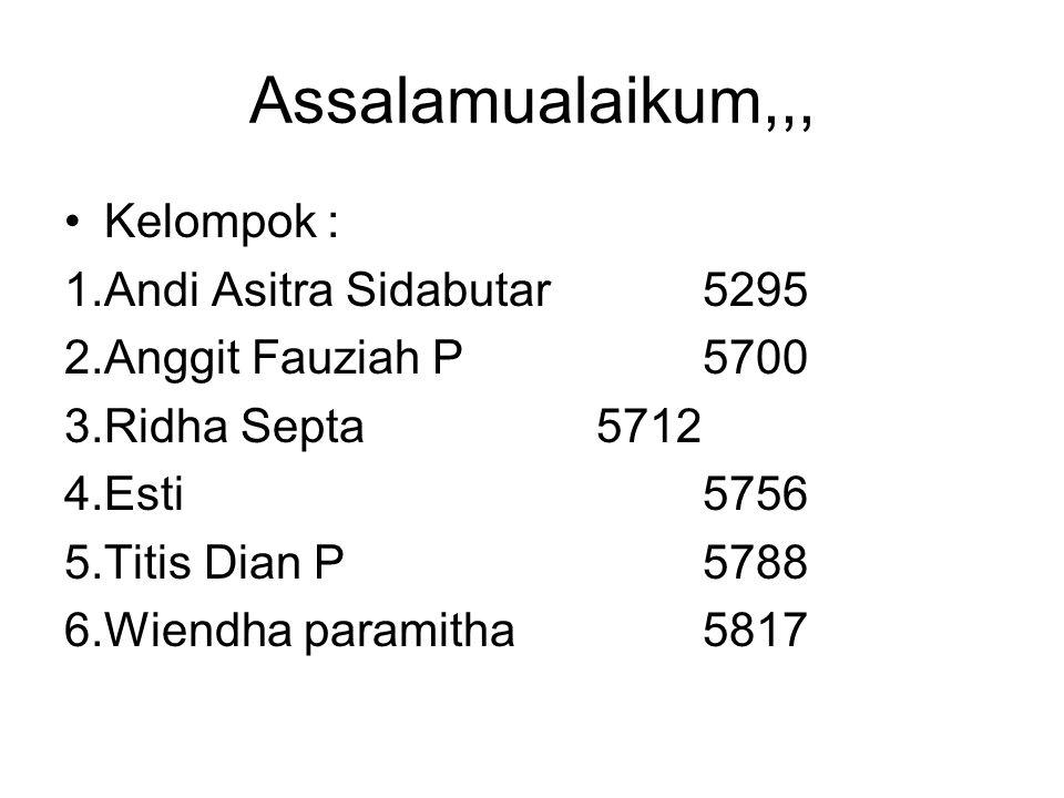 Assalamualaikum,,, Kelompok : 1.Andi Asitra Sidabutar5295 2.Anggit Fauziah P5700 3.Ridha Septa 5712 4.Esti5756 5.Titis Dian P5788 6.Wiendha paramitha5817