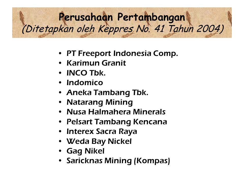 Perusahaan Pertambangan (Ditetapkan oleh Keppres No.