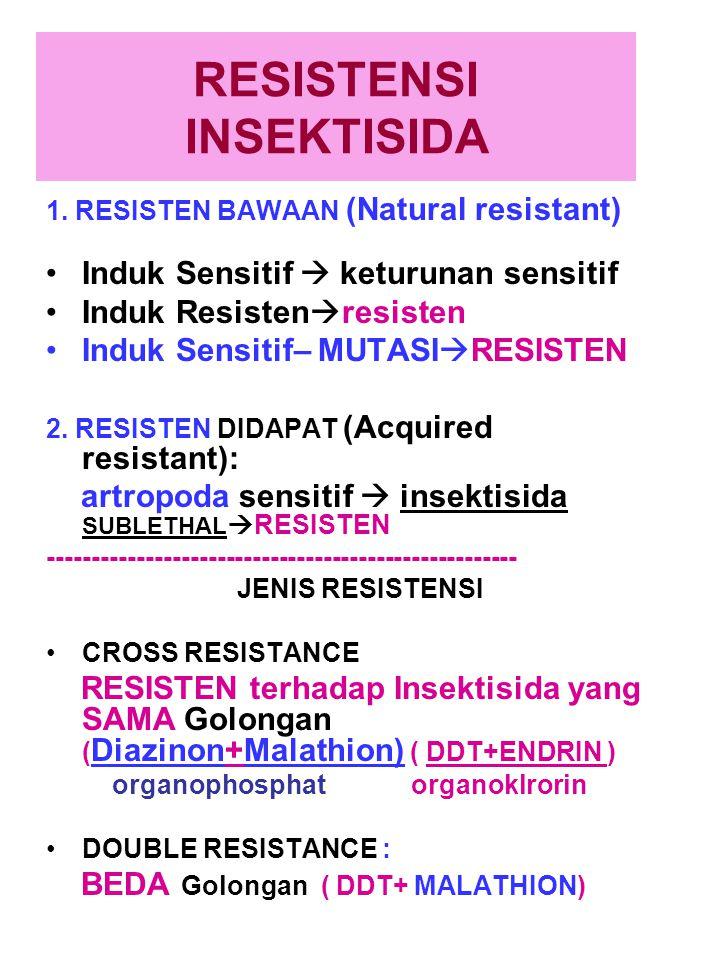 RESISTENSI INSEKTISIDA 1. RESISTEN BAWAAN (Natural resistant) Induk Sensitif  keturunan sensitif Induk Resisten  resisten Induk Sensitif– MUTASI  R