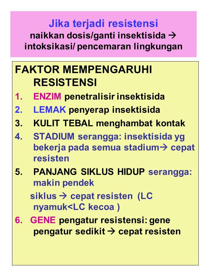 Jika terjadi resistensi naikkan dosis/ganti insektisida  intoksikasi/ pencemaran lingkungan FAKTOR MEMPENGARUHI RESISTENSI 1.ENZIM penetralisir insek