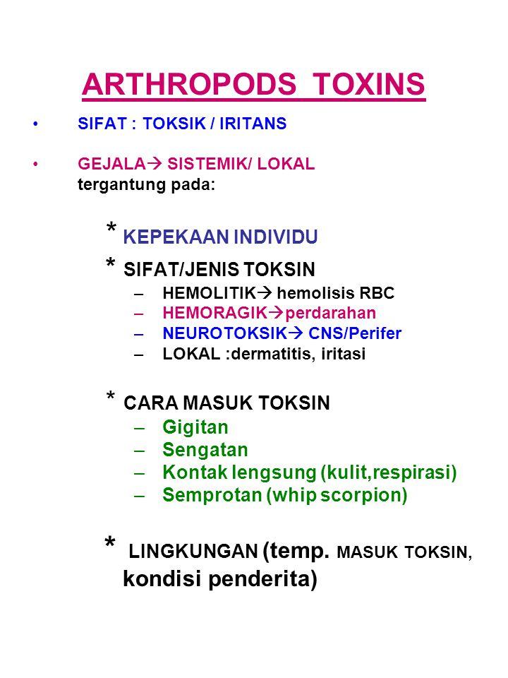 ARTHROPODS TOXINS SIFAT : TOKSIK / IRITANS GEJALA  SISTEMIK/ LOKAL tergantung pada: * KEPEKAAN INDIVIDU * SIFAT/JENIS TOKSIN –HEMOLITIK  hemolisis R